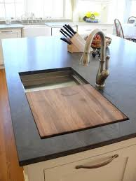 kitchen island with cutting board pull out drawer cutting board with for trash below in