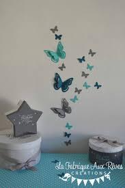 chambre bébé turquoise stickers papillons 3d turquoise gris bleu canard pétrole