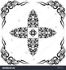 tribal tattoo set cross frame corner stock vector 54288811