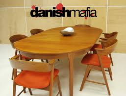 mid century danish modern oval teak dining table w 2 leaves