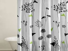 Bath And Shower Sets Green And Black Shower Curtain Curtains Decoration