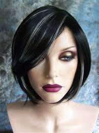 dark hair with grey streaks black with white highlights short wig wigs not sure about wigs