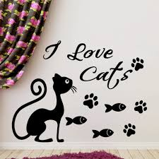 i love cat quotes with cute cat silhouette wall stickers home