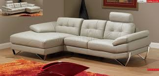 Modern Furniture Depot by Light Grey Leather Modern Sectional Sofa W Removable Headrests