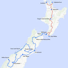 Map My Route Driving by My One Month Travel Route Through New Zealand Travel