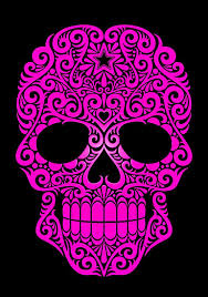pink swirling sugar skull posters by jeff bartels redbubble