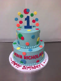 primary colored polka dotted 1st birthday cake main made custom