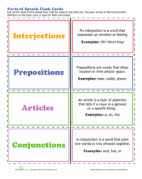 parts of speech worksheet education com