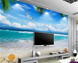 online buy wholesale sea wall mural from china sea wall mural beibehang 3d wallpaper living room bedroom murals blue sky white clouds beach sea view 3d tv