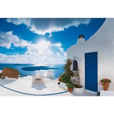 ideal decor 100 in x 144 in santorini sunset wall mural dm269 santorini sunset wall mural