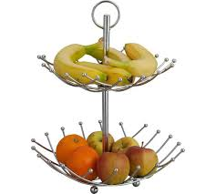 tiered fruit basket buy home 2 tier fruit bowl silver at argos co uk your online