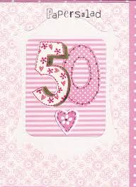 pink 50th birthday card karenza paperie