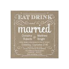 rustic vintage wedding invitations rustic eat drink be married burlap square wedding invitation