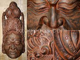 wall mask of wood from the island of gods large carved ethnic