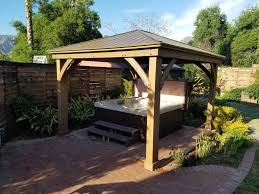 gazebo on patio 12 x 14 wood gazebo with aluminium roof yardistry