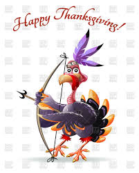 frame with cartoon indian turkey with bow and arrow vector clipart
