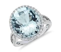 aquamarine diamond ring aquamarine and diamond halo ring in 18k white gold 14x12mm