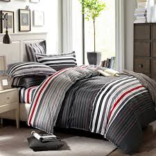 Duvet Covers For Queen Bed Aliexpress Com Buy Grey And Red Stripes Printing 4pc Bedding Set