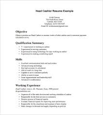 Resume Sles For Cashier Cashier Resume Template Cashier Resume Template 16 Free Sles
