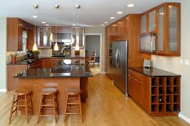Custom Kitchen Countertops Redwood Custom Kitchen Cabinet With Bar Stools And Black Granite