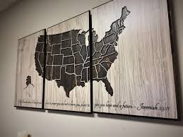 Rustic Vintage Home Decor by Us Map Wall Art Wood Wall Art Push Pin Map 3 Panel Map Vintage