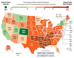 State By State Map Of Usa by Calorielab Fattest States