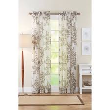 Walmart Sheer Curtain Panels Better Homes Gardens皰 84 Faux Linen Leaves Semi Sheer Window