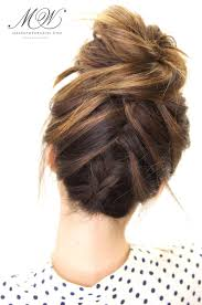 put your hair in a bun with braids how to do the amazing tuxedo braid messy bun hairstyle tutorial