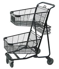 Cart Grainger Approved Two Tier Shopping Cart 29 In L 300 Lb 6ppz9
