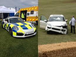 police porsche porsche live at goodwood 2014 cayenne crash and 911 turbo s