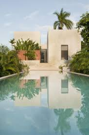 interior design rectangular swimming pool with outdoor plants and