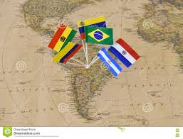 Brazil Map States by South America Continent With Flag Pins Of Sovereign States On Map