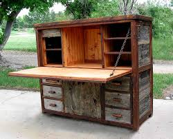 Computer Hutch Desk With Doors Rustic Barnwood Desks Computer Fold Down And Seven Drawer Wood