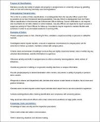 Security Job Description For Resume by Sample Security Officer Resume 8 Examples In Word Pdf