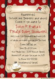 pirate baby shower invitation skull bandanna ship