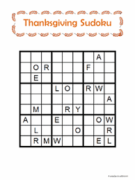 thanksgiving word sudoku