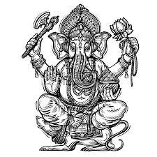 hand drawn sketch vector illustration ganesh chaturthi royalty