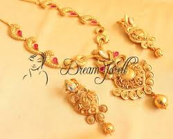 gold necklace with stones images One gm gold necklace set with uncut semi precious stones dj00090
