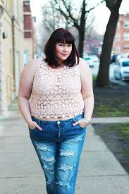 Forever 21 Ripped Jeans Off Duty Style Forever 21 Plus Size Crop Top And Ripped Jeans