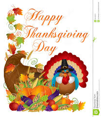 happy thanksgiving day cornucopia turkey illustrat stock vector