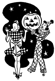 retro halloween image costume ladies with pumpkin retro