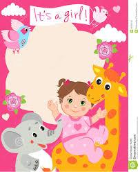 Invitation Card With Photo Baby Shower Invitation Card With Funny Giraffe Elephant
