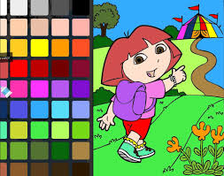 coloring book dora the explorer dora and circus coloring page