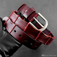 cool vintage red leather cowboy casual dress belt waistband for