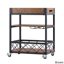 removable tray top table myra rustic mobile serving cart with wine inserts and removable tray