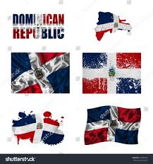 Domenican Flag Dominican Republic Flag Map Different Styles Stock Illustration