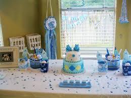 interior design view wild safari blue baby shower decoration