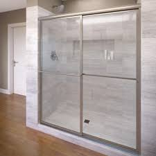 basco deluxe 40 in x 68 in framed sliding shower door in brushed