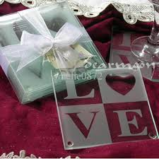 wedding coaster favors 2018 wholesale letters glass coasters wedding gifts glass