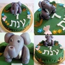 jungle animal baby shower cake with fondant palm tree elephants